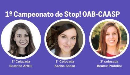 Conheça as vencedoras do 1º Campeonato de Stop! OAB-CAASP